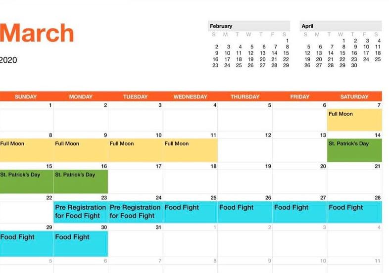 EK Event Schedule_March_2020