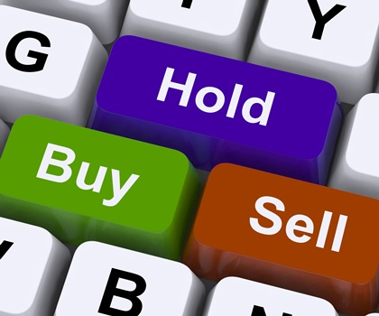 Buy Hold And Sell Keys Representing Market Strategy