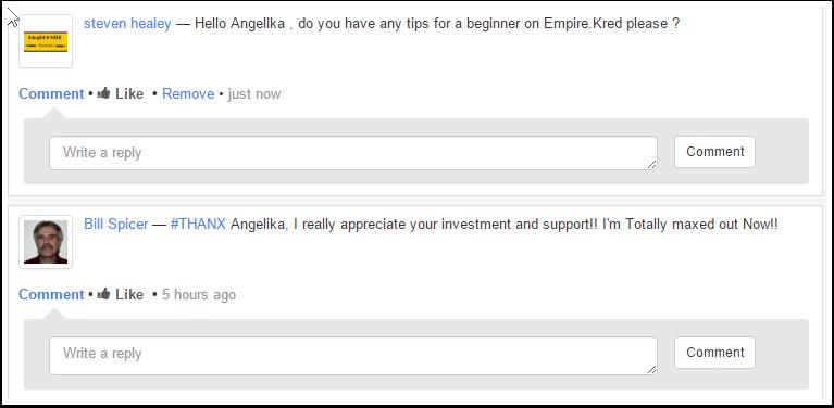 My message on Angelika's profile